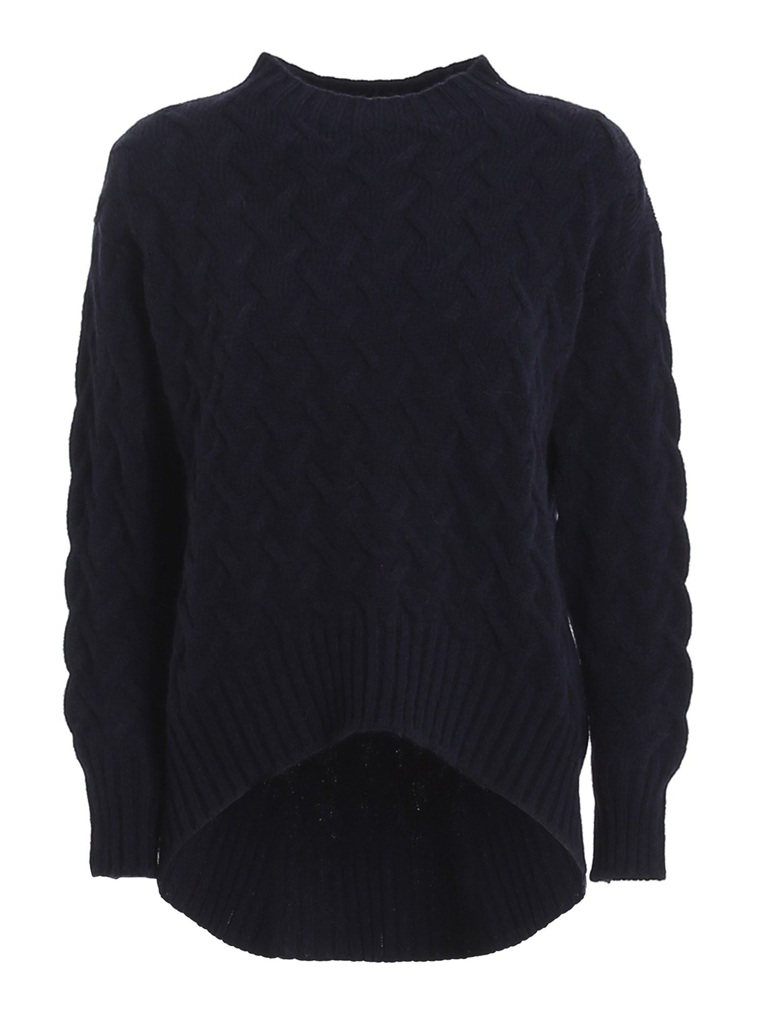 Drumohr CABLE-KNIT CREWNECK JUMPER IN BLUE