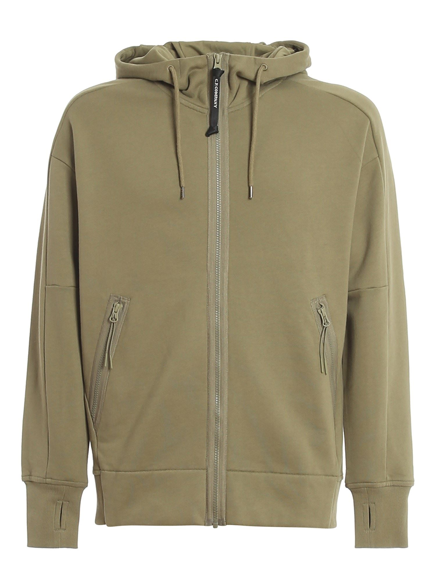 C.p. Company Cottons GOGGLE DETAILED COTTON HOODIE IN GREEN