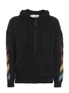 Off-White - Diag print mohair hoodie in black