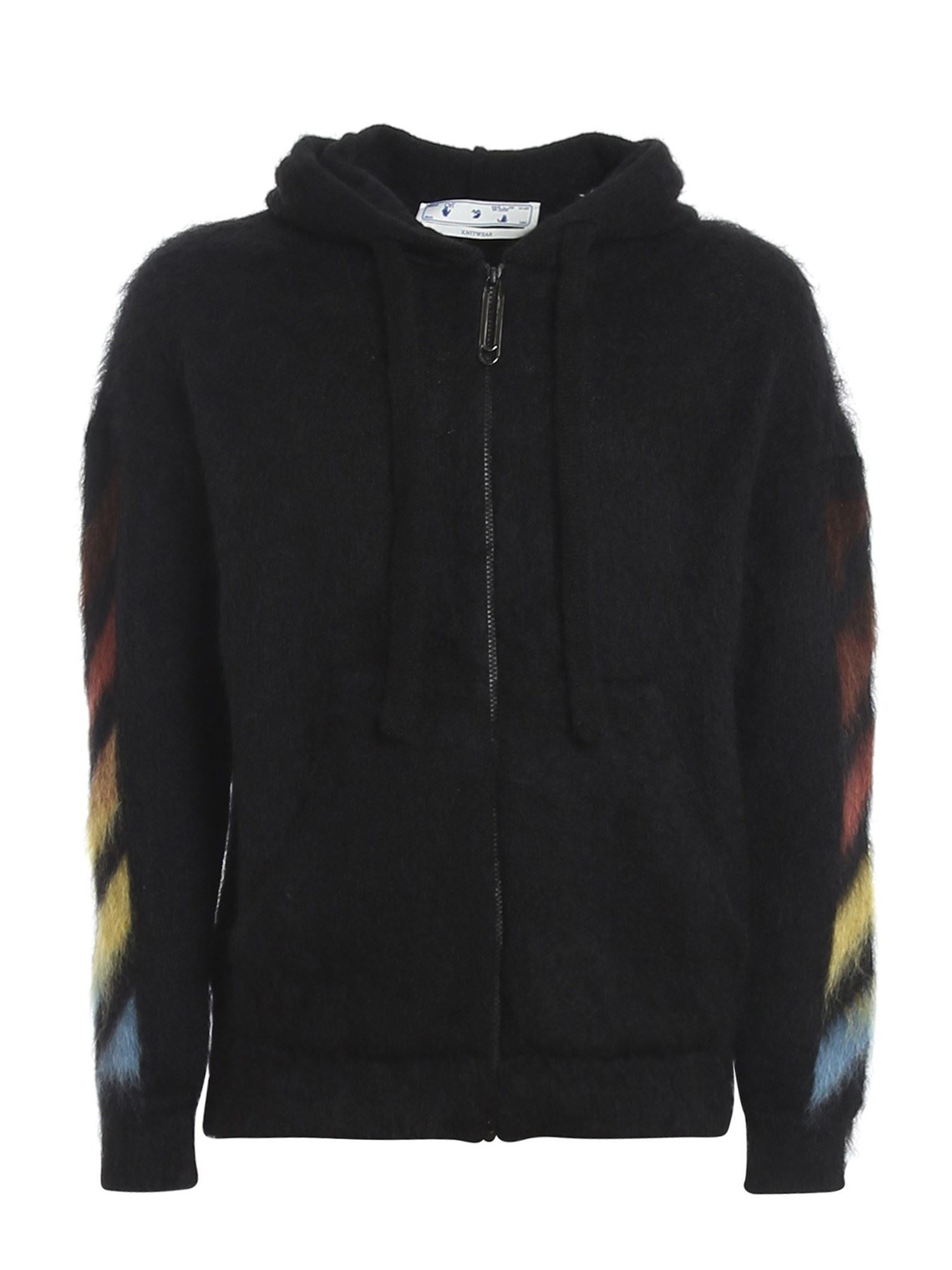 OFF-WHITE DIAG PRINT MOHAIR HOODIE IN BLACK