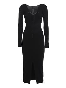 Patrizia Pepe - Criss cross strap knitted dress in black