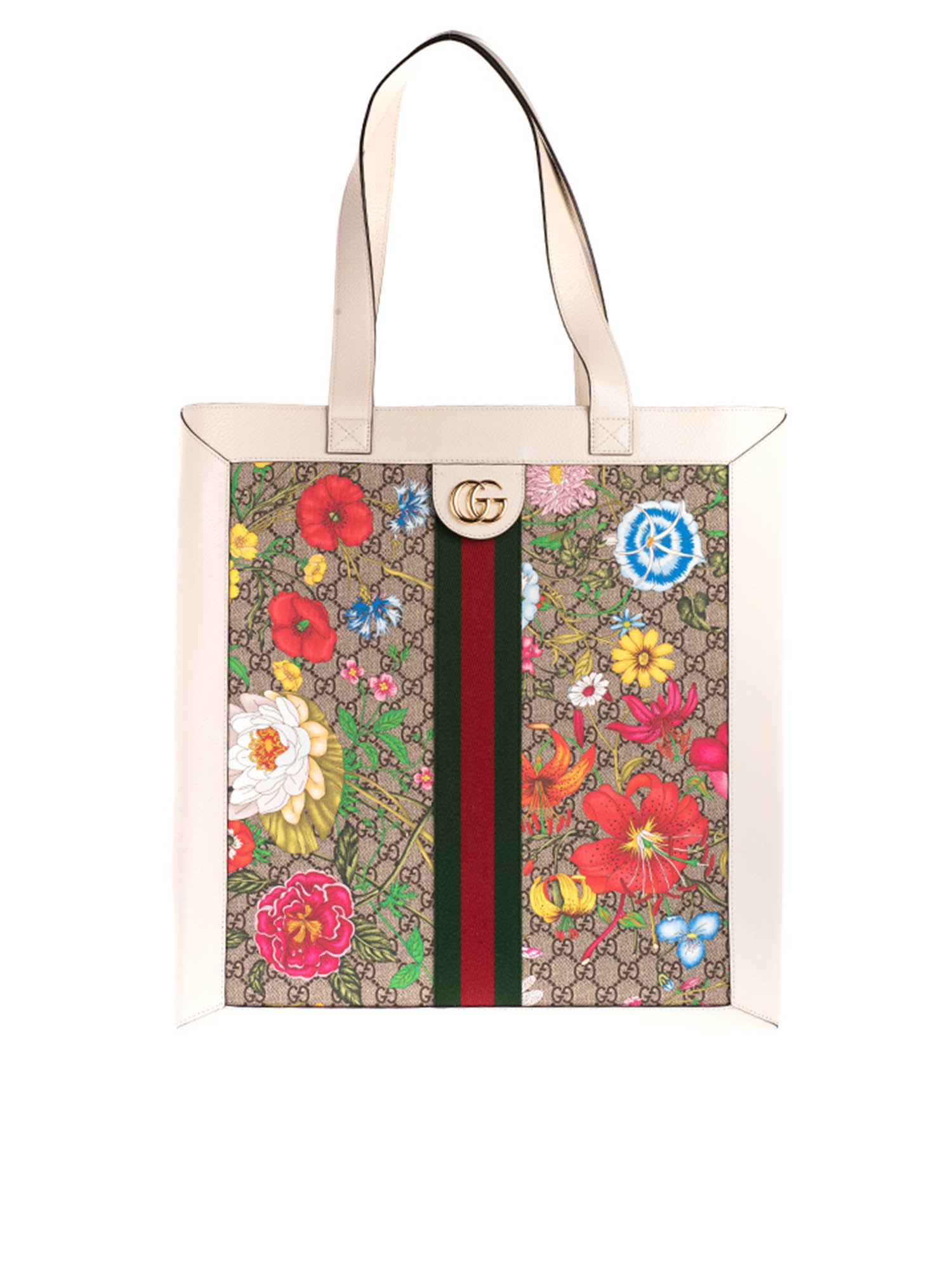 GUCCI Leathers FLORA GG LARGE SHOPPING BAG IN WHITE
