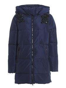 Twin-Set - Embroidered padded jacket in blue