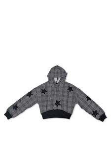 Monnalisa - Crop sweatshirt with stars in black and white