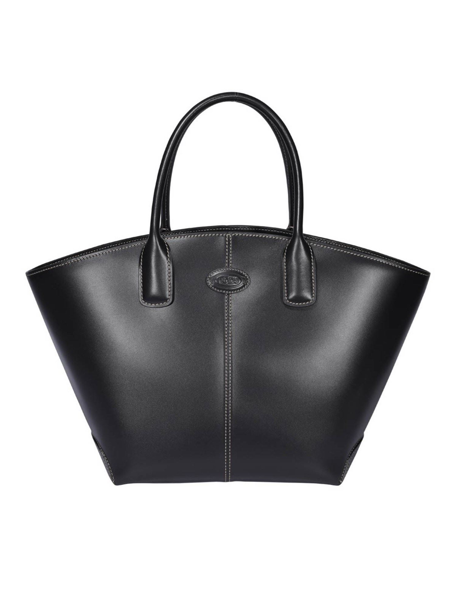 Tod's Leathers LEATHER TRAPEZOIDAL BAG IN BLACK
