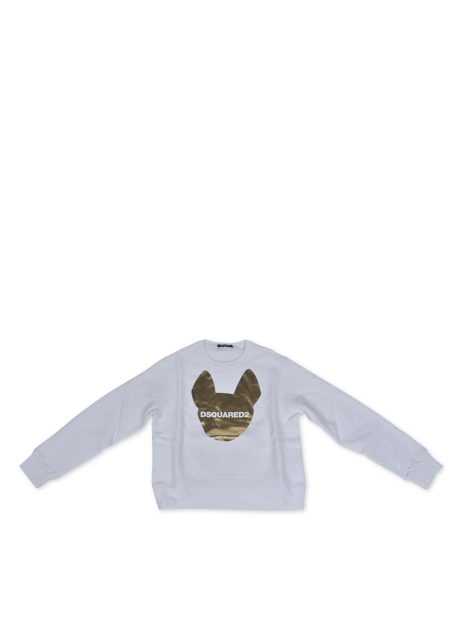 Dsquared2 SWEATSHIRT WITH LOGO PRINT IN WHITE