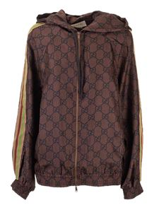Gucci - GG silk hooded jacket in brown