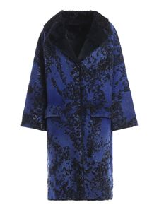 Avant Toi - Merino wool and fur reversible coat in blue