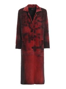 Avant Toi - Faded devoré merino wool blend long coat in red