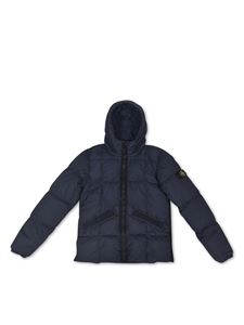 Stone Island Junior - Down jacket with logo patch in blue