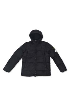 Stone Island - Quilted down jacket with logo patch in black