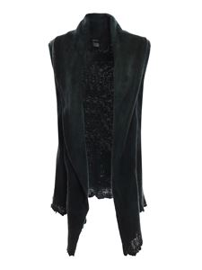 Avant Toi - Merino and cashmere felt sleeveless cardigan in green