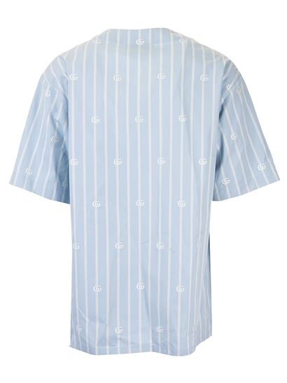 Gucci - Striped GG bowling shirt in light blue and ivory