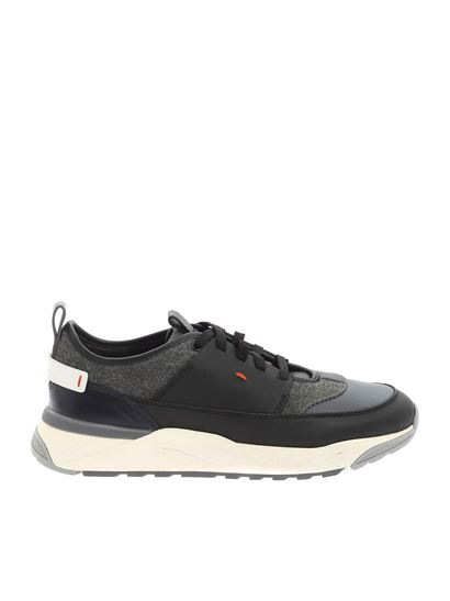 Santoni - Logo sneakers in black and grey