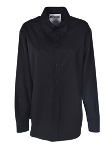 Moschino - Camicia button down nera stampa logo