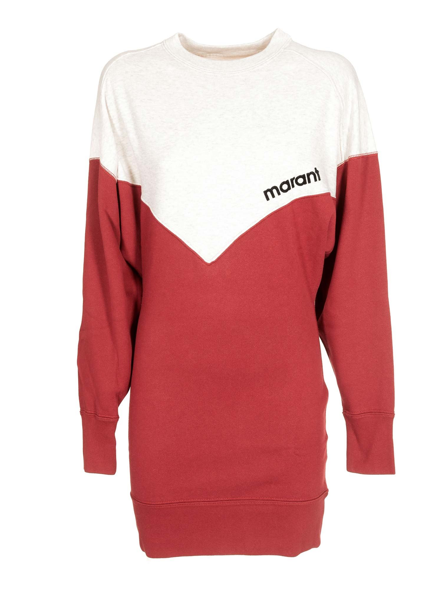 Etoile Isabel Marant TWO-TONE HELOYAE DRESS IN RED