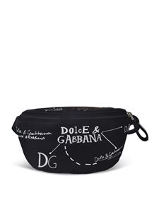 Dolce & Gabbana - Belt bag  in black featuring white prints