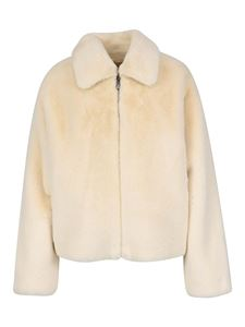 Twin-Set - Faux leather short coat in cream colour