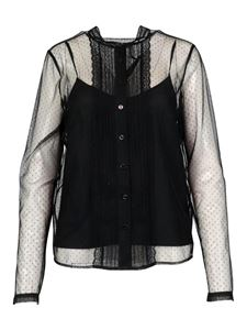 Twin-Set - Lace tulle plumetis shirt in black