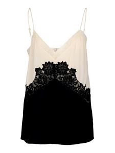 Twin-Set - Lace insert two-tone top in black