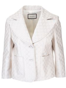 Gucci - GG lamé jacket in chalk and silver color