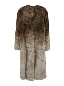 Givenchy - Gradient effect fur coat in green