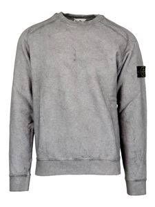 Stone Island - Cotton round neck sweatshirt in grey
