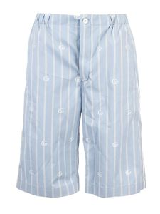 Gucci - Striped GG shorts in light blue and ivory