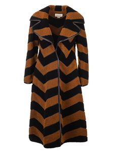 Gucci - Long chevron fur in black and camel color