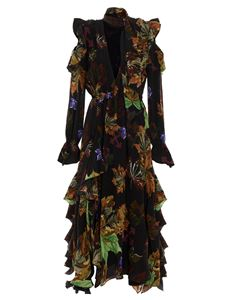 Off-White - Leaves Long Romantic dress in multicolor