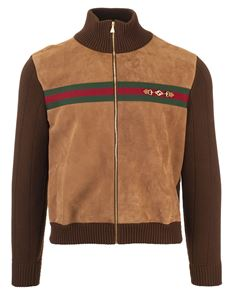 Gucci - Web bomber and horsebit in brown and beige