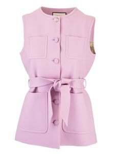 Gucci - Woolen and silk waistcoat with belt in pink