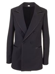 Gucci - Woolen and silk double-breasted jacket in black