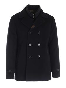 Moorer - Padded double-breasted coat in blue