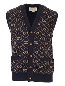 Gucci - GG wool vest in blue and camel