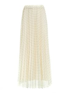 Parosh - Polka dot pleated skirt in white