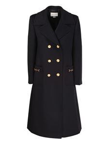 Gucci - Wool double-breasted coat in black