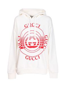 Gucci - Maxi red logo sweatshirt in white