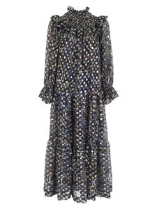 Parosh - Seth long dress in blue, brown and gold