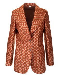 Gucci - Woolen and silk GG lamè jacket in brown