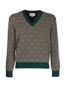 Gucci - GG pattern pullover in green and camel