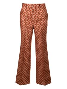 Gucci - GG lamé wide-leg pants in brown
