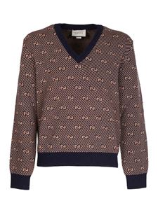 Gucci - GG pattern pullover in blue and camel