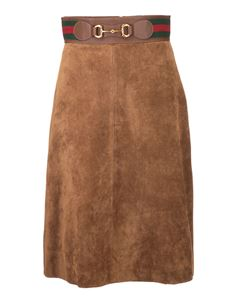 Gucci - Web and horsebit leather skirt in brown