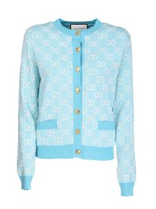 Gucci - Cotton and wool pique GG cardigan in light blue