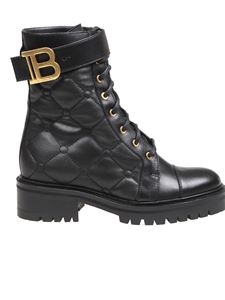 Balmain - Quilted leather ranger boots in black