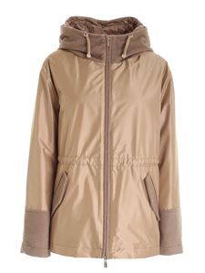 Diego M - Hooded down jacket in brown and gold color