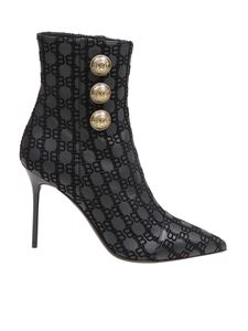 Balmain - Roni ankle boots in black branded leather