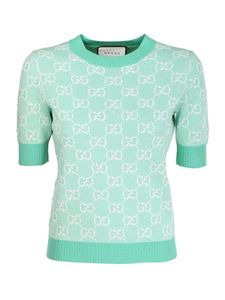 Gucci - GG wool and cotton pique T-shirt in green