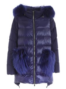 Diego M - Quilted blue down jacket featuring removable hood